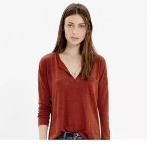 Madewell Linen Heathered Telegraph Pocket Tee S